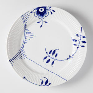 Musselmalet blå Middagstallerken